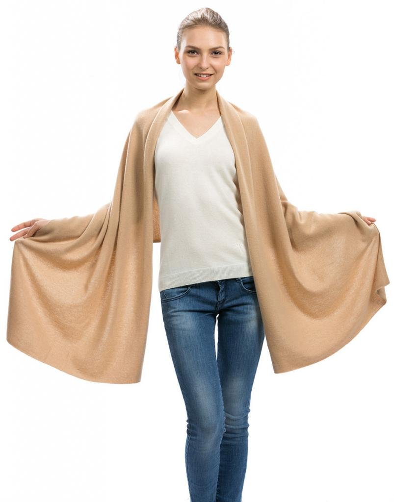Cashmere Scarf Wrap  100% Cashmere  by Citizen Cashmere 43 5000809, Camel, One Size