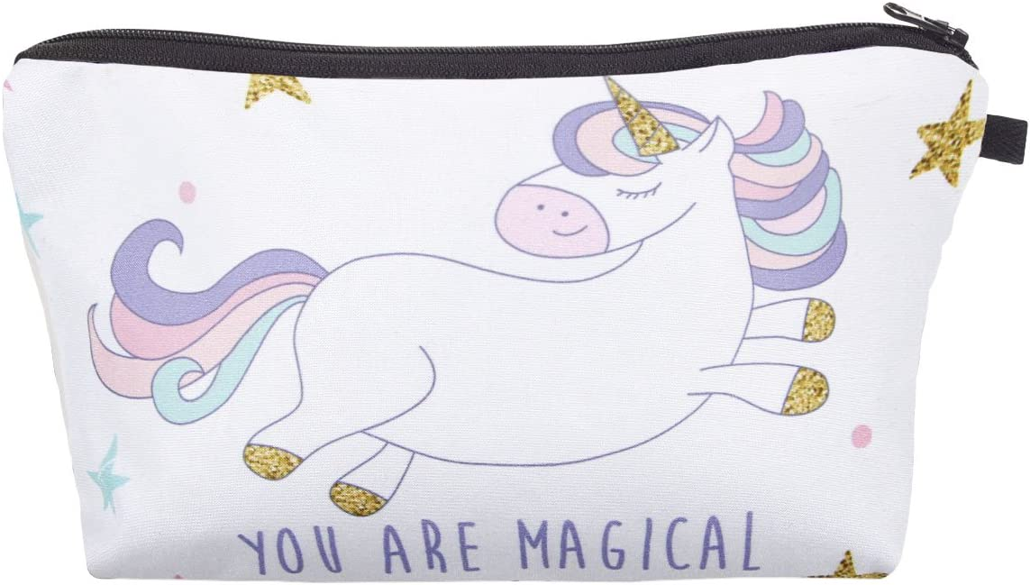 Estuche | Bolsa Multiuso para Maquillaje | Cosmeticos | Viaje | 20 x 13 cm | Dibujo Unicorno | Blanco | con Cremallera | para Mujeres | Chicas: Amazon.es: Belleza