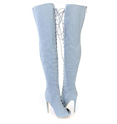 Elegant high shoes Botas de Mujer Denim Otoño Invierno
