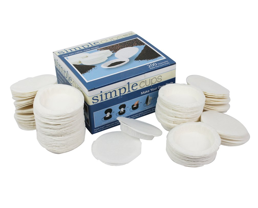 Coffee Pod Replacement Filters for Coffee Pod Brewers - Make Your Own Disposable Pods - 200 Pack By Simple Cups