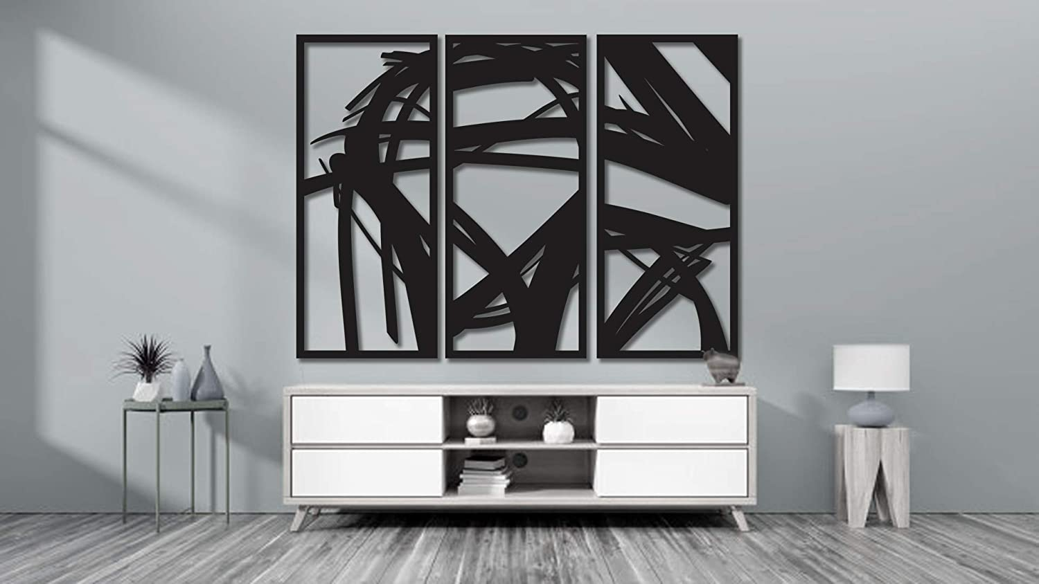 Motsure | 3 Piece Abstract Metal Wall Art Home Décor Living Room Office Dining Aluminum Modern Design Sculpture Ready to Hang for Outdoors and Indoors (40