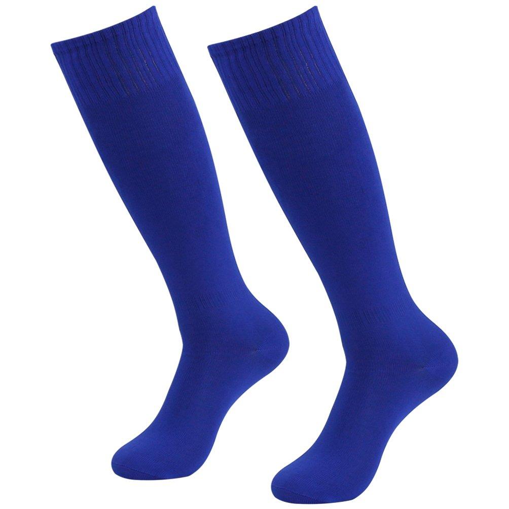 J'colour Team Football Socks, Unisex Solid Over Calf Team Athletic Performance Socks for Soccer Baseball 2 Pairs Blue by J'colour