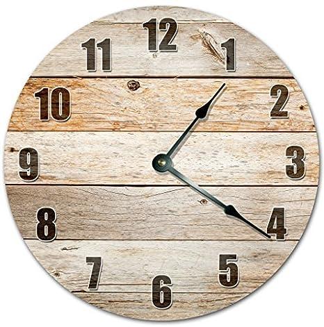 Monsety Divertido Reloj de Pared Decorativo para salón rústico Madera tableros Reloj casa de Campo guardería Redondo Madera Reloj para Cocina decoración ...