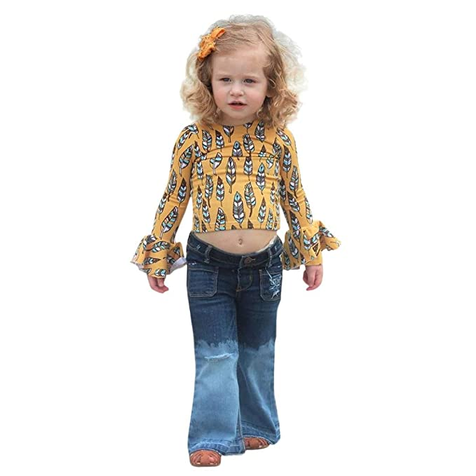 3fee5664c4c Amazon.com: Minisoya Kids Toddler Baby Girls Long Sleeve Feather Printed T-Shirt  Tops Denim Flare Pants Bell-Bottom Jeans Set: Clothing