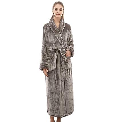 Women s Plush Soft Warm Fleece Bathrobe Robe Hotel Luxurious Plush Spa  Bathrobe (Gray 1e548023c