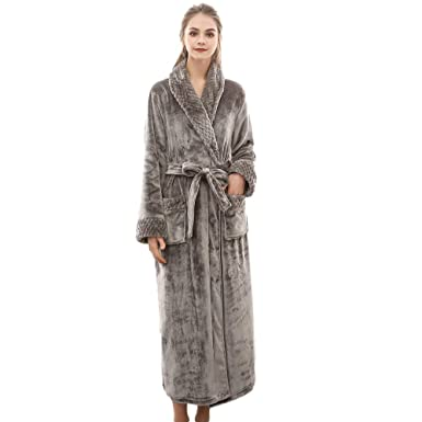 Womens Luxury Soft Bath Robe Housecoat Dressing Gown Bathrobe Long  Sleepwear Wrap Ladies Loungewear ab2b580c6