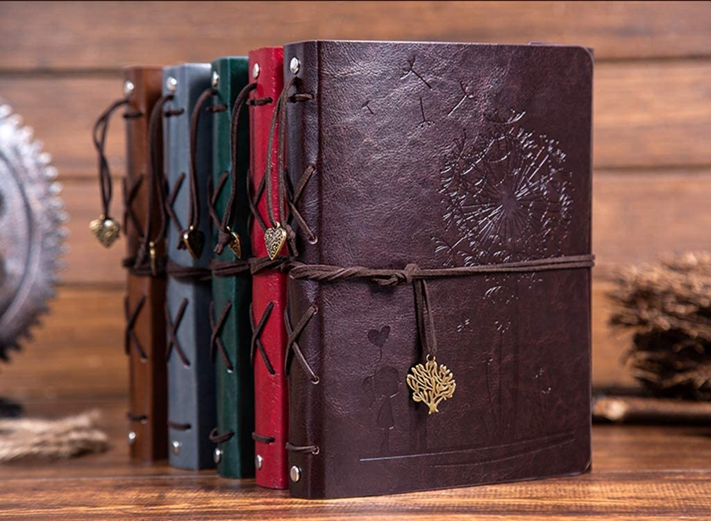 "DIY Leather Scrapbook Photo Album Adhesive Handmade Leather Memory Book 60 pages /""Girl/&Boy/"" for Graduation Anniversary Birthday Wedding Travel Pictures"