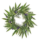 Wholesale Silk Floral country Chic Grape Hyacinth & Fennel Seed Leaf Wreath, 24''
