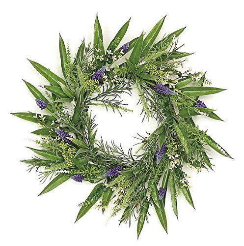 Wholesale Silk Floral country Chic Grape Hyacinth & Fennel Seed Leaf Wreath, 24'' by Wholesale Silk Floral (Image #1)