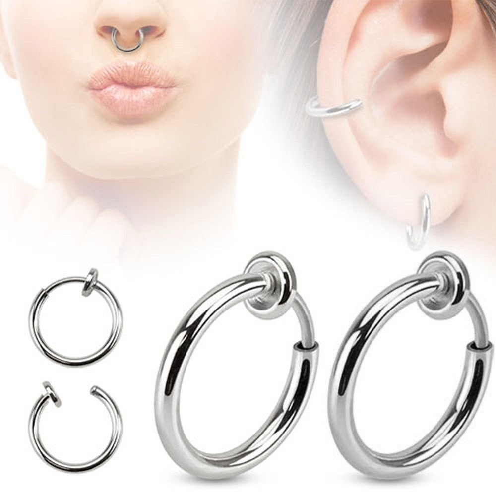Pair of Silver Fake Earring Lip Nose Belly Eyebrow Non-Piercing Rings