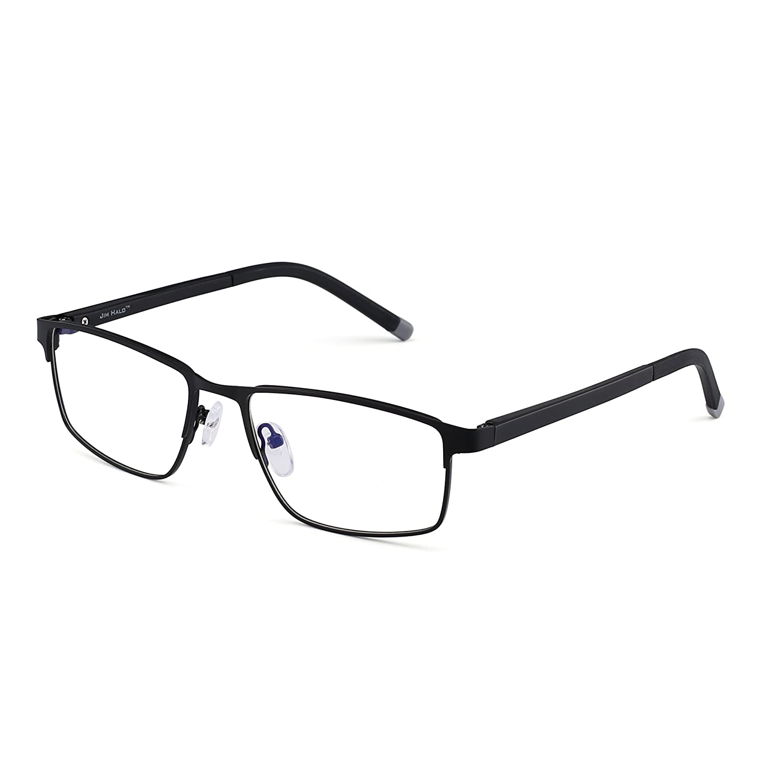 9a0b43ad6a3 Amazon.com  Rectangle Optical Frame Glasses Spring Hinge Metal RX-able Eyeglasses  Clear Lens (Black Clear)  Clothing