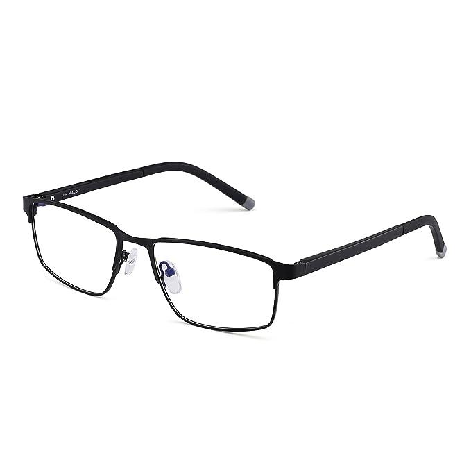 94169c45508 Rectangle Optical Frame Glasses Spring Hinge Metal RX-able Eyeglasses Clear  Lens (Black