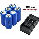 Malloom 6 x 2000mAh 16340 Batería de ion-litio recargable Para linterna LED + Cargador CR123A