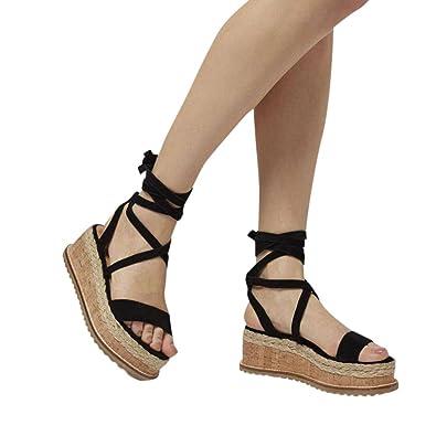 9631ac96bea Fheaven Women Roman Platform Shoes Side Braided Wedge Gladiator Waterproof  Ankle Tie up Sandals (US