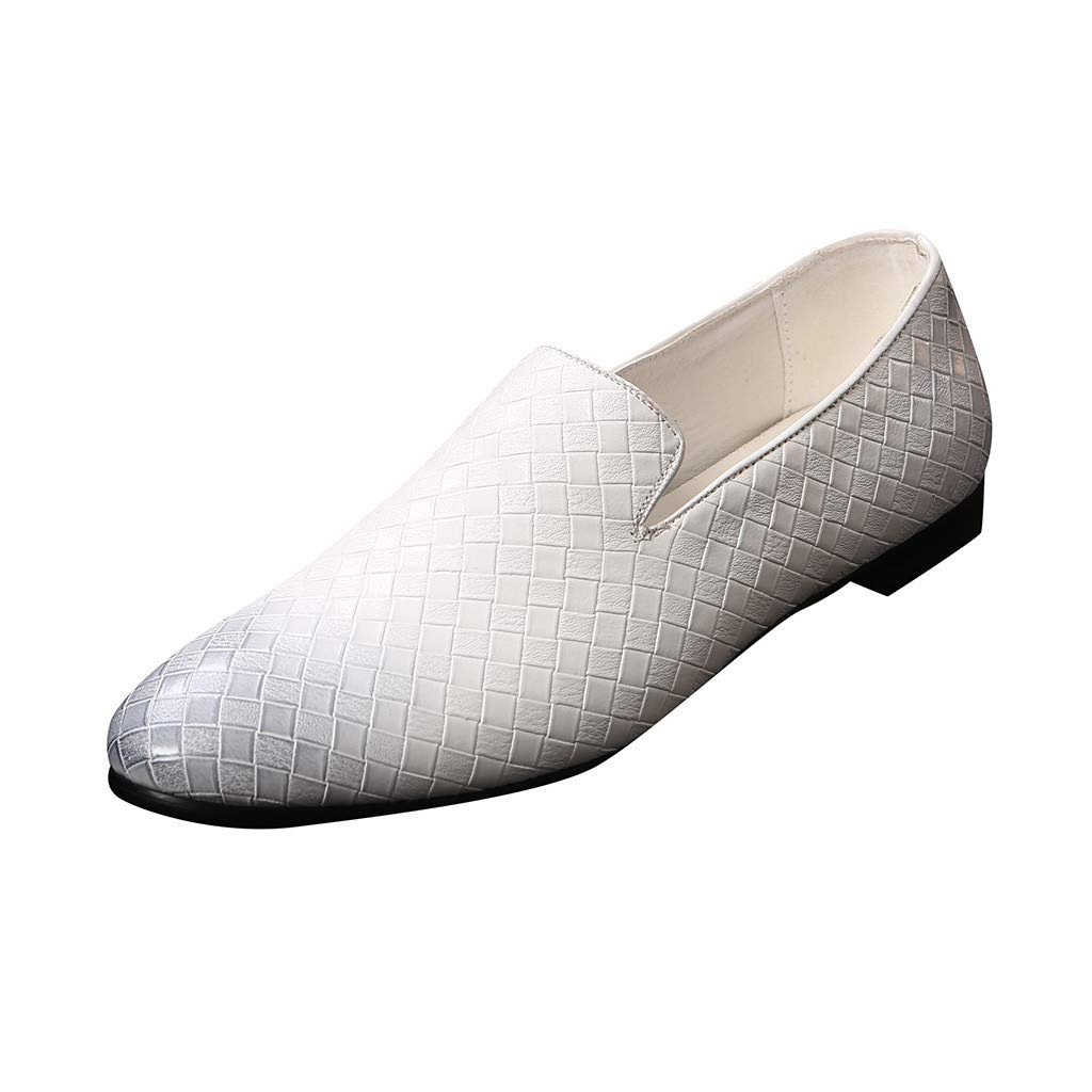 Men Pointed Toe Tuxedo Loafers Noble Slip On Party Wedding Dress Shoe Plaid Smoking Slipper White by Lowprofile Men Shoes