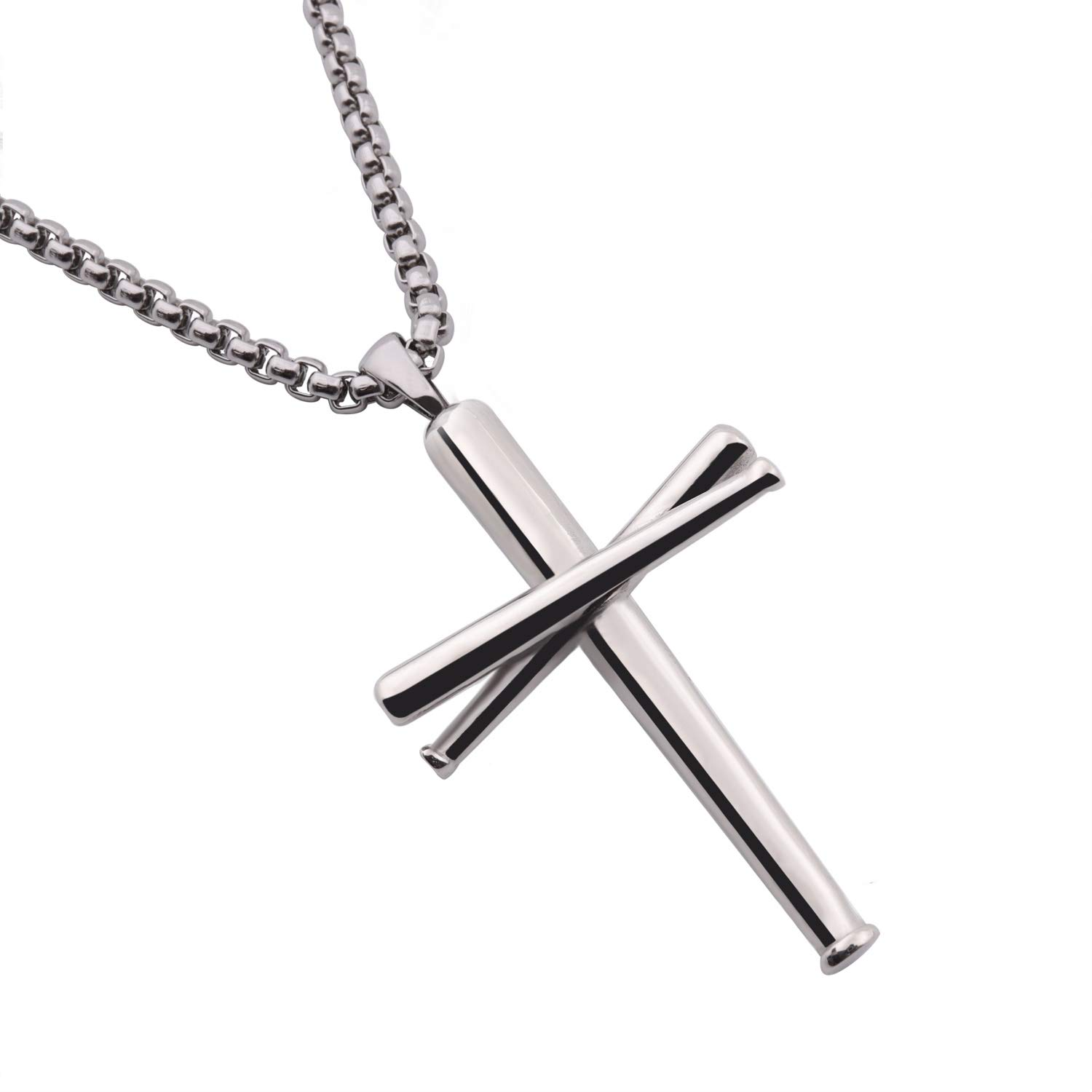 RMOYI Baseball Bats Necklace Athletes Pendant Chain,Sport Stainless Steel Necklaces for Men Women Boys Girls,Small Silver 18 Inches