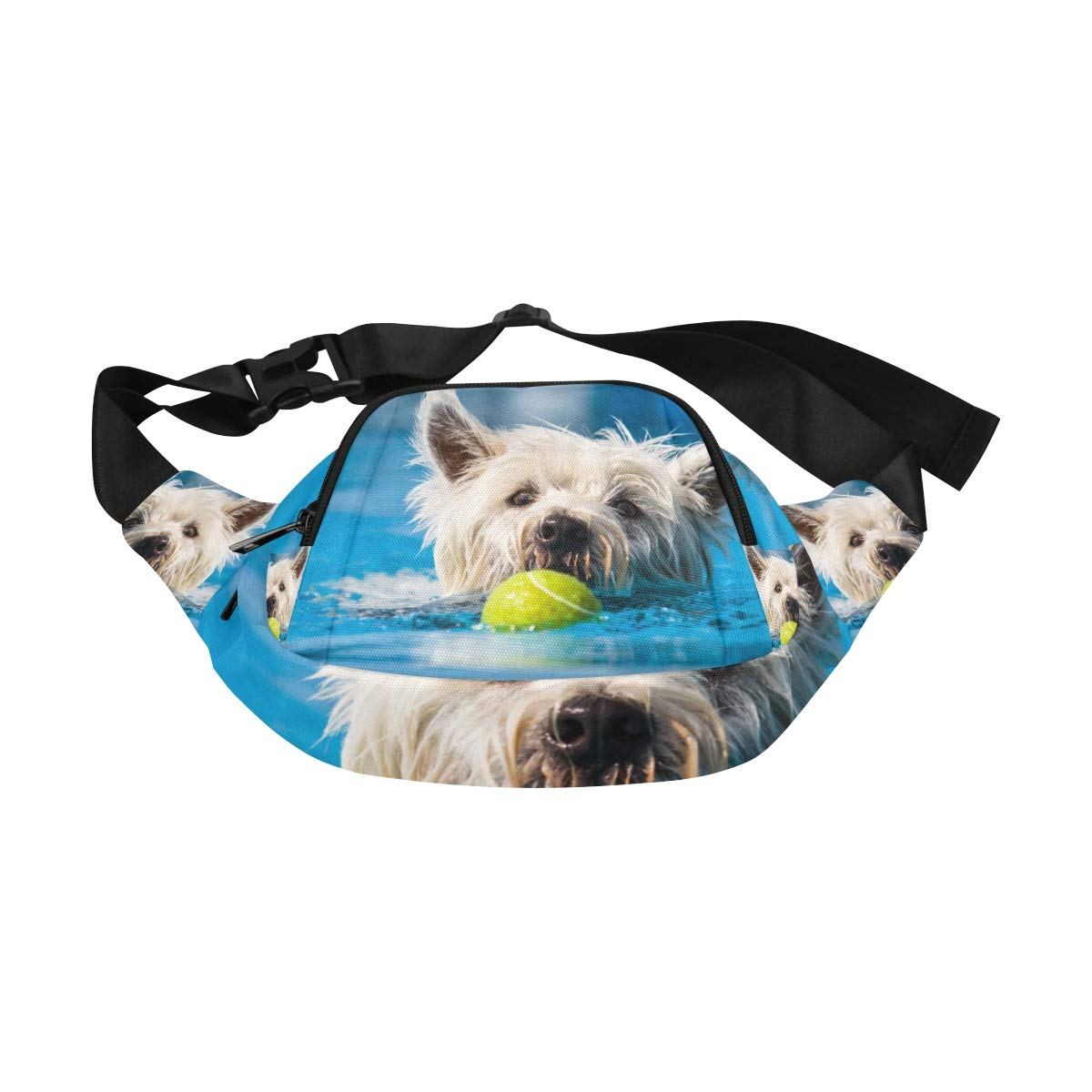Happy Dog Swimming Dog Smiling Fenny Packs Waist Bags Adjustable Belt Waterproof Nylon Travel Running Sport Vacation Party For Men Women Boys Girls Kids