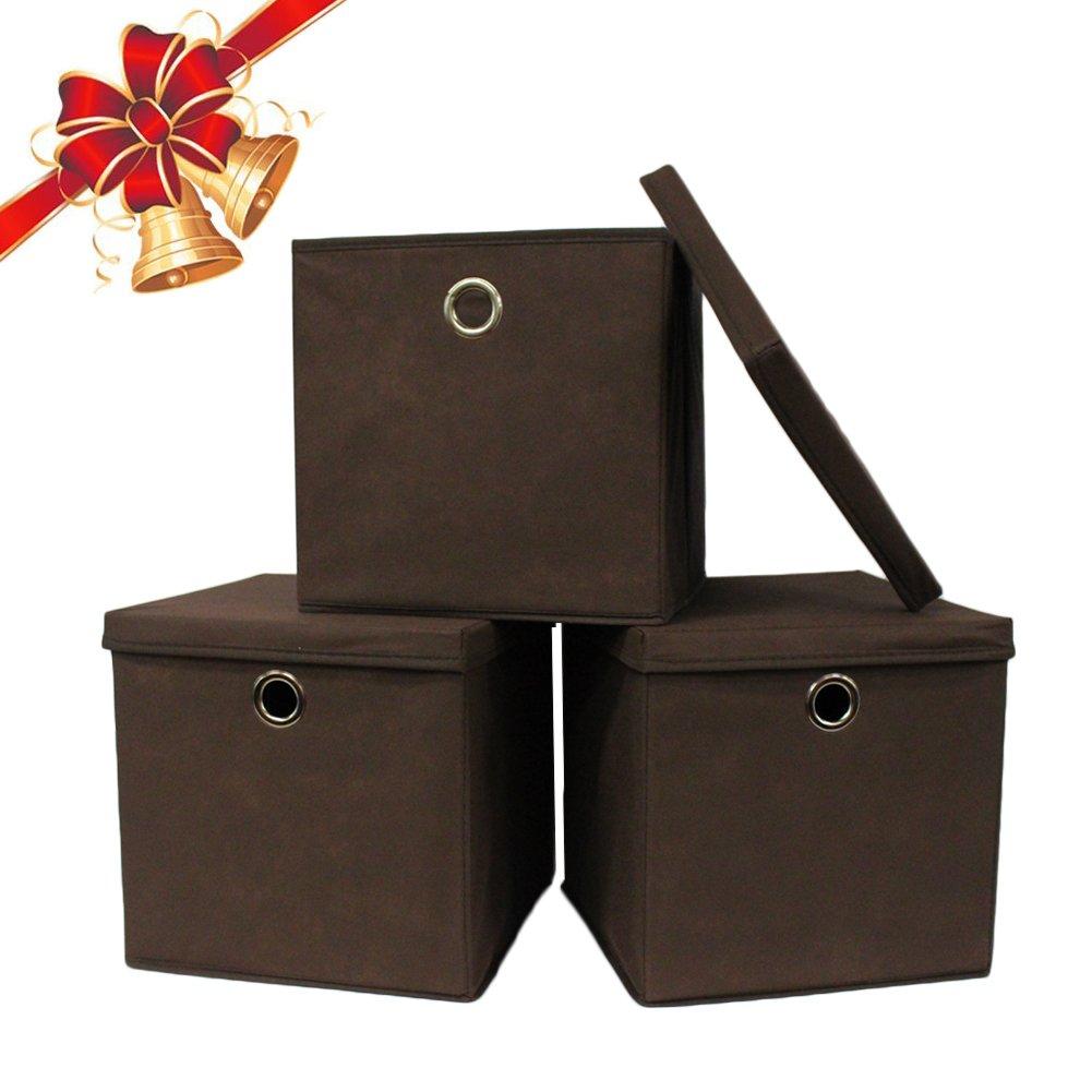 Foldable Storage Bin Lid Set Of 3 Cube Basket Non Woven