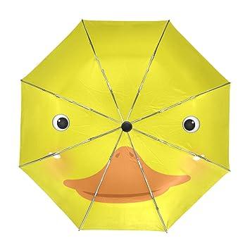 ALAZA Cara Linda del Pato Amarillo de Viaje Paraguas de Apertura automática Cerca de Protección UV