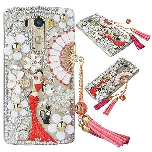 (Spritech(TM Bling Phone Case for LG K7/LG Tribute 5,3D Handmade Silver Crystal White Flower Fan Pendant Lovely Girl Pattern Accessary Design Clear Cellphone Cover)