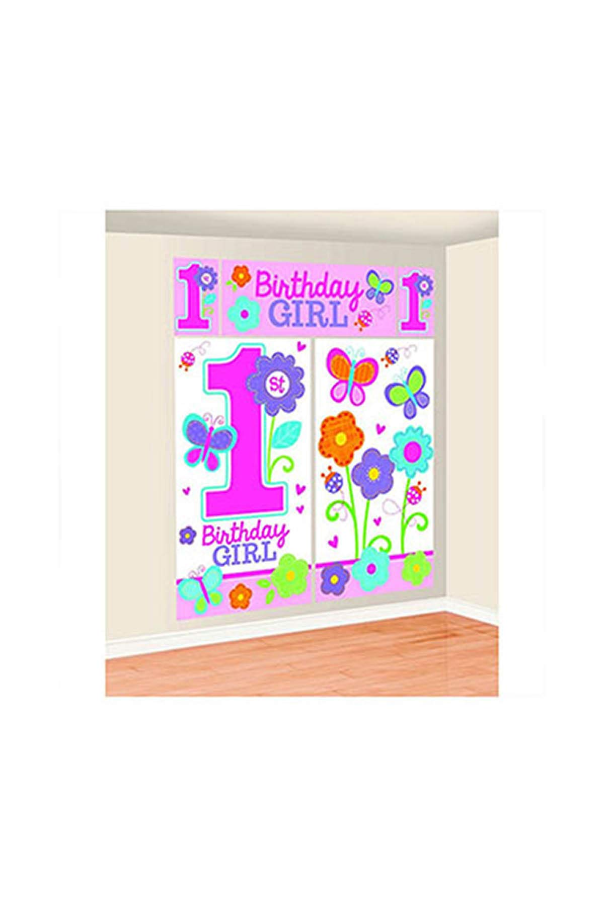amscan Wall Decorating Kit   1st Birthday   Girl   Flowers and Butterflies Collection