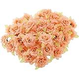 MagiDeal 50pz Seta Rosa Fiore Artificiale Foglia Testa Decorazione Casa Matrimonio Partito - Arancione