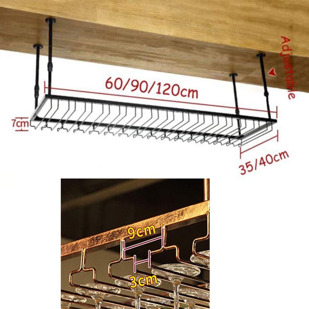 marco de decoraci/ón de techo de cocina comedor Soporte de vidrio para colgar de hierro barra de viento simple altura ajustable Black 60 * 35cm