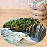 Kisscase Custom carpetNature Jogan Beach Waterfall View in Java Indonesia Tropical Seashore Scenery for Bedroom Living Room Dorm Green White and Brown