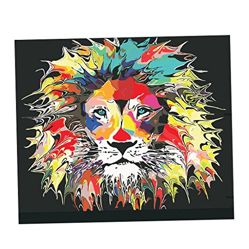 Homyl DIY Oil Painting Paint by Number Kit for Adult with Brushes Paint for Adults Students Handmade Painting Frameless - Lions, 40x50cm