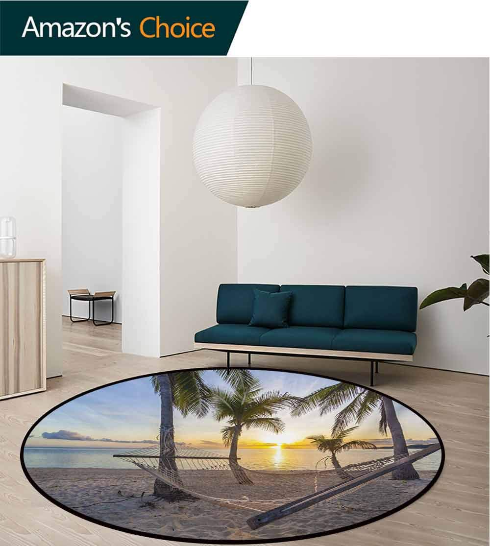 RUGSMAT Tropical Round Rug,Paradise Beach with Hammock and Coconut Palm Trees Horizon Coast Vacation Scenery Carpet Door Pad for Bedroom/Living Room/Balcony/Kitchen Mat,Diameter-71 Inch by RUGSMAT (Image #3)