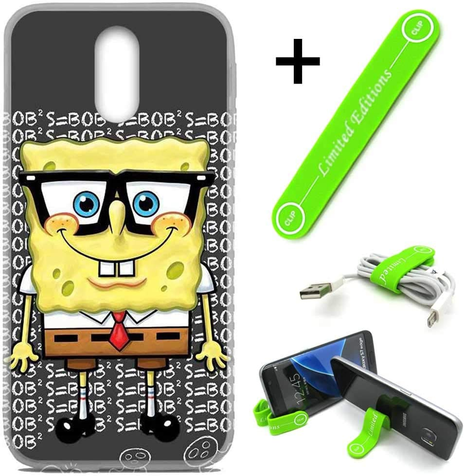 [Ashley Cases] for LG [Stylo 5] [Stylo 5 Plus] Cover Case Skin with Flexible Phone Stand - Spongebob Nerd G