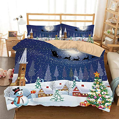 Christmas Decorations Khaki Duvet Cover Set Full/Queen Size,Winter Season Snowman Xmas Tree Santa Sleigh Moon Present Boxes Snow and Stars,Decorative 3 Piece Bedding Set with 2 Pillow Shams,Blue White