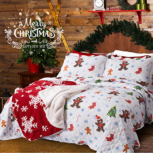 Bedsure Christmas Bedding Quilts Set Decoration Printed Bedspread King Size 106x96 Patchwork Coverlet Ideas for Kids Red Green and White Home Decor ()