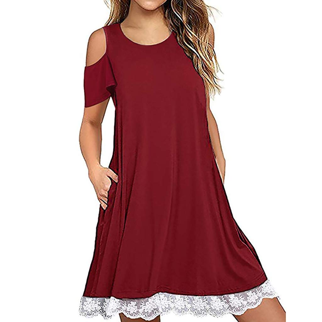 Hattfart Women's Summer Short Sleeve Cold Shouler Lace Hem T-Shirt Loose Dress with Pockets (M, Red)
