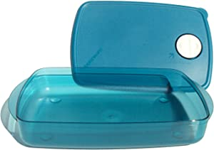 Tupperware Rock N Serve Microwave Rectanglle Dish 6 Cup Medium Blue