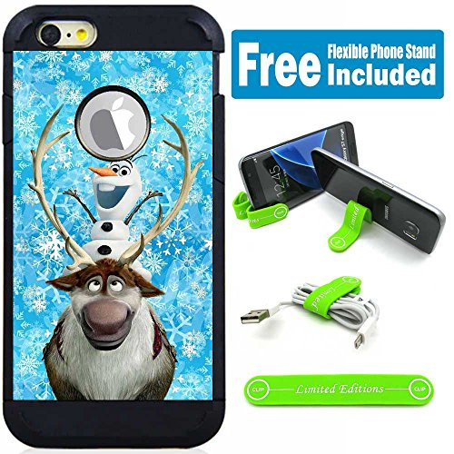 Apple iPod Touch 5/6 5th/6th Generation Hybrid Armor Defender Case Cover with Flexible Phone Stand - Frozen Olaf Sven (Ipod 5th Generations Frozen Cases)