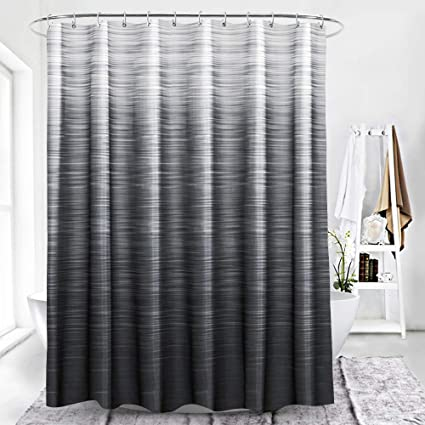 BROSHAN Modern Black Shower Curtain FabricBlack Ombre Textured Grey Natural Art Print Home Bath