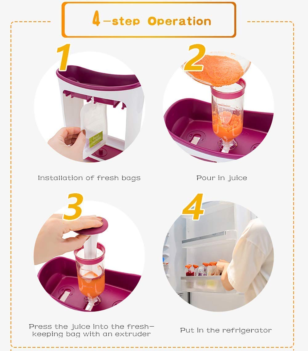 The Station for Squeezing Baby Food Comes with Reusable Bags and Spoons by ZANGZ (Image #7)