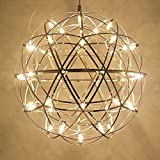 Tropicalfan Modern Spherical Globe Stainless Steel Pendant Spark Chandelier Little Shining Star Creative Ceiling Light With 42 LED Light Beads 11.8 Inch For Restaurant Mall