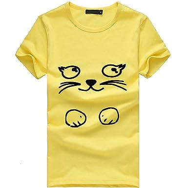 FRAUIT Camisa de Manga Corta Suelta para Mujer Estampado de Gato Camiseta Tops Casuales del O-Cuello Camiseta de Mujer Manga Corta Camisas Y Blusas de Mujer ...