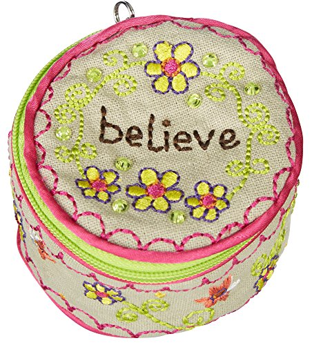 Round Believe Jewelry Holder with Beaded Zipper Pull ()