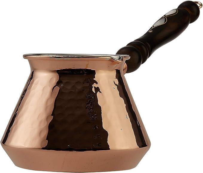 * NUEVO * CopperBull más gruesa de cobre turco griego árabe para café con hornillo, cafetera italiana Cezve Ibrik Briki con mango de madera, de grosor ...