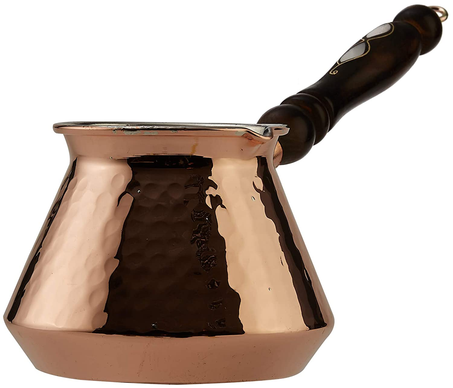 CopperBull THICKEST Solid Hammered Copper Turkish Greek Arabic Coffee Pot Stovetop Coffee Maker Cezve Ibrik Briki with Wooden Handle, Thick 2 mm (Xlarge - 15 Oz)