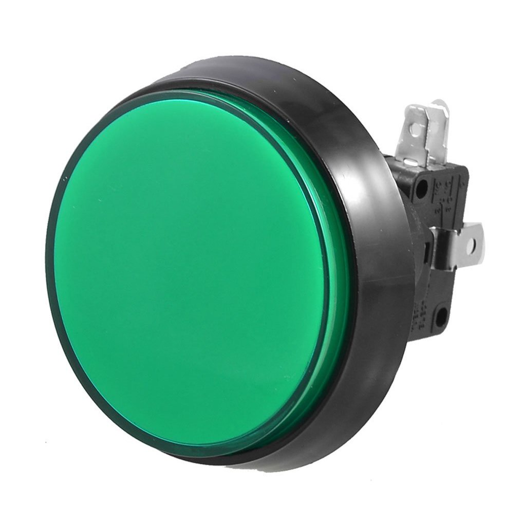 SODIAL(R)Mini interruptor SPDT de boton pulsador Momentaneo Iluminado Verde 52mm Juegos Arcade