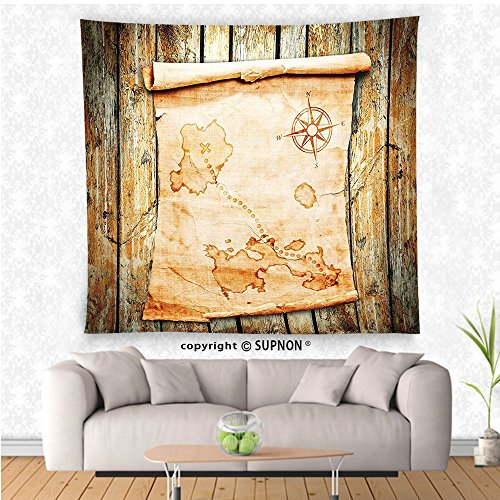 VROSELV custom tapestry Island Map Decor Collection Treasure Map on Rustic Timber X Marks the Spot of Gold Nautical Pirates Concept Bedroom Living Room Dorm Wall Hanging Tapestry Cream Brown (Bed Antique Treasures Poster)