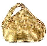 TOPCHANCES Women Rhinestones Crystal Evening Clutch Bag Party Prom Wedding Purse (Gold)