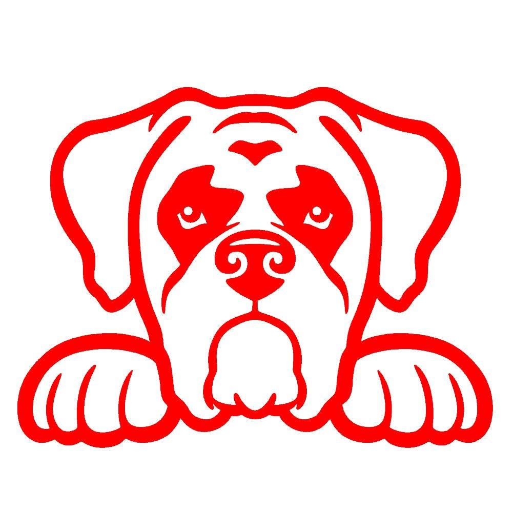 ボクサー犬Peeking v1ビニールデカールby stickerdad – サイズ: 5インチ、カラー:レッド – Windows、壁、バンパー、ノートパソコン、ロッカー、など。  B079MDR6GK