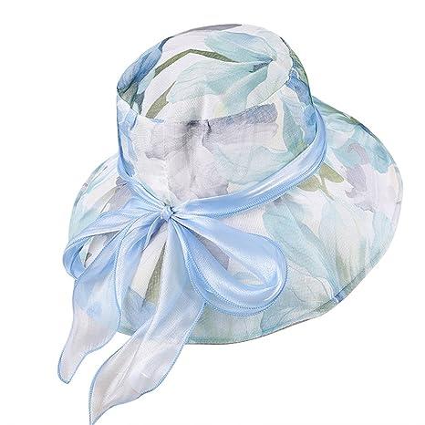 LONTG estivi donna cappello da sole Protezione UV spiaggia tappi pieghevole  cappelli a tesa grande fiocco 89017273181d