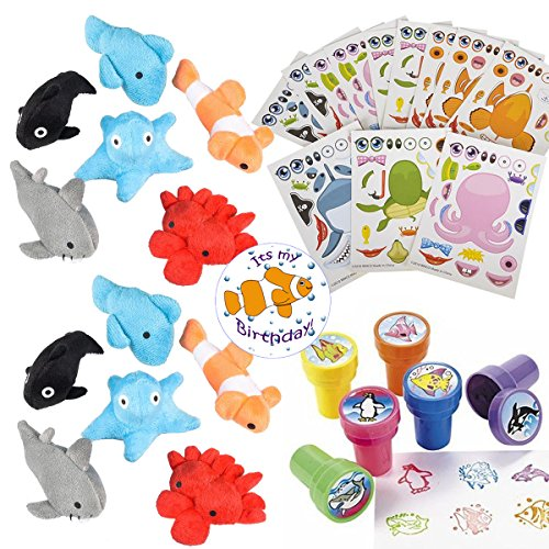 Sea Creature Party Favors for 24 - Under the Sea Stampers (24), Make-a-Fish Stickers (24), Plush Mini Ocean Animals (24) and a Birthday Sticker (Total 73 Pieces) -