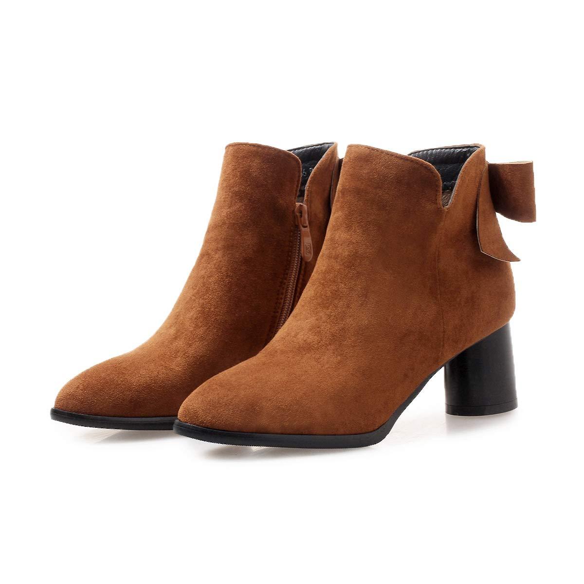 Woherren Pointed Toe Block Heels High Short Ankle Stiefel